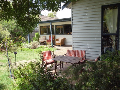 rear garden and patio area