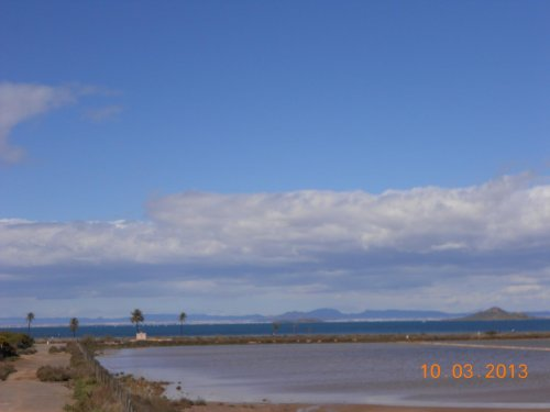 View of the Mar Menor over the salt lakes